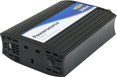 RING 'PowerSource' 12V Power Inverter -300W with 2A USB Car Van Boat ERINVU300