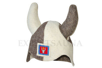 Hat for Sauna Viking Bull with Horns FREE Shipping (100% Wool)