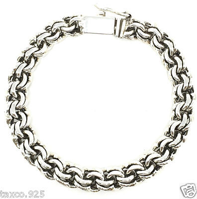 Taxco Mexican 925 Sterling Silver Unisex Men's Chain Link Bracelet Mexico