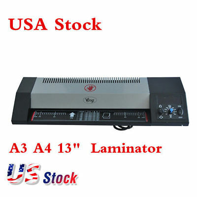 "USA! Steel A3 A4 Hot & Cold 13"" Thermal Photo Roller Pouch Laminator Machine"