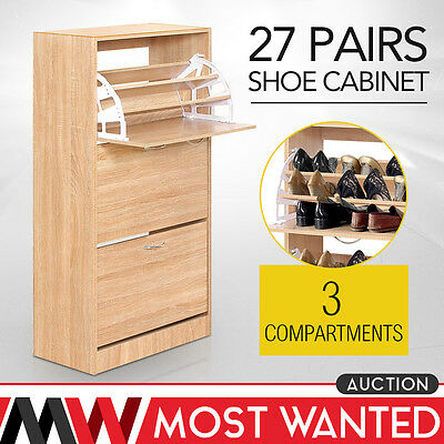 Shoe Cupboard Storage Wood Cabinet Footwear Stand Rack Natural 3 Drawer 3 Layers