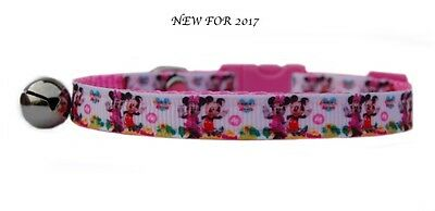 "Handmade Pink white  ""MICKEY  &  MINNIE"" safety kitten cat collar 3 sizes"