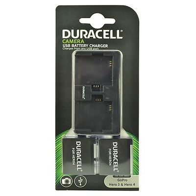 Duracell Dual Charger for GoPro Hero 3 & 4 with 2 Rechargable Batteries New Uk