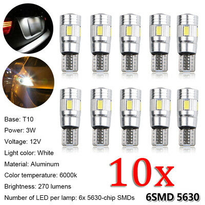10 Pcs Veilleuses LED T10 W5W 6000k 6SMD 5630 Canbus Anti Erreur ODB Blanc Pur