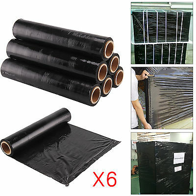 6X Strong Roll-Black-Pallet-Stretch-Shrink-Wrap Cast Parcel Packing Cling Film
