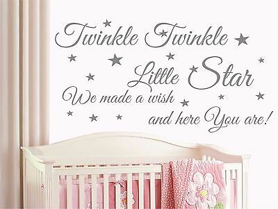Twinkle Twinkle Little Star Wall Quote Stickers, Wall Decals, Wall Art T9