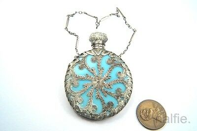 ANTIQUE EARLY VICTORIAN SILVER & TURQUOISE GLASS SCENT / PERFUME BOTTLE c1840's