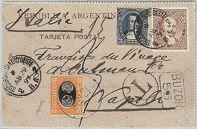 ARGENTINA - POSTAL HISTORY: STATIONERY CARD to ITALY - TAXED on arrival 1892