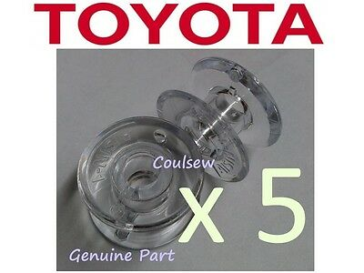 GENUINE TOYOTA SP SERIES PLASTIC SEWING MACHINE BOBBINS x5 Super Jeans, Eco etc