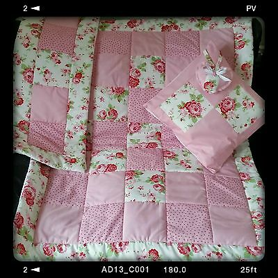 Shabby Chic Cath Kidston Ikea Fabrics Cot Quilt, Bumper Set 4pc Baby Bedding