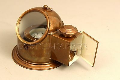 Nautical Brass Ship Binnacle Compass- Vintage Boat Helmet Compass With Oil Lamp