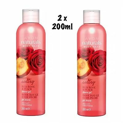 2x AVON Naturals Shower Gel Sultry Red Rose & Peach 200ml - New And Free Postage