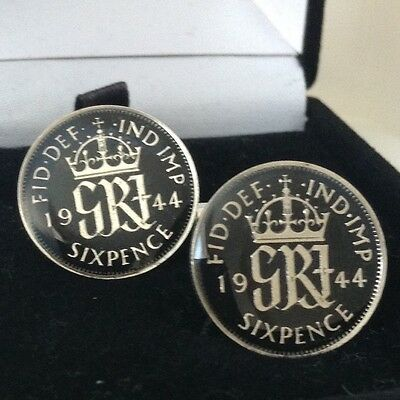 1944 Enamelled Sixpence Coin Cufflinks. Black/silver. George VI. 73rd Birthday.