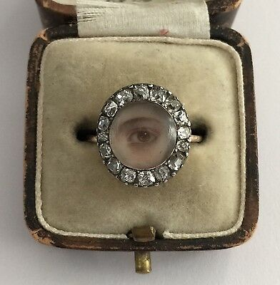 A Magnificent Georgian Old Mine Cut Diamond Eye Ring Dated 1797