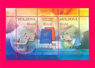 MOLDOVA 2005 New Moldavian Passport 10th Anniversary s-s Mi Bl.34(521-523) MNH