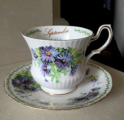 Queens Rosina Bone China Cup And Saucer, 'special Flowers - September'