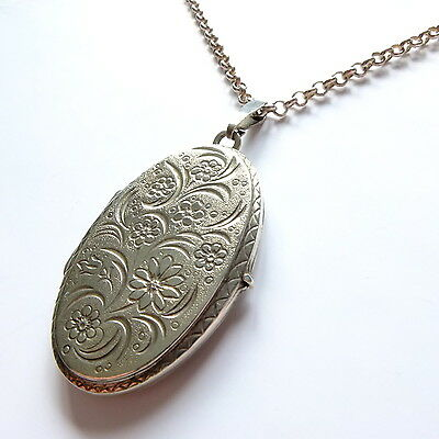 Fabulous Vintage Solid Silver Large Locket and Long Chain Marked STERLING