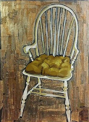 "original oil painting chair collage art vintage book paper pages 24"" x 18"""