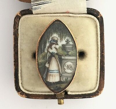 A Magnificent Georgian Lady Watercolour Mourning Ring Circa 1800's