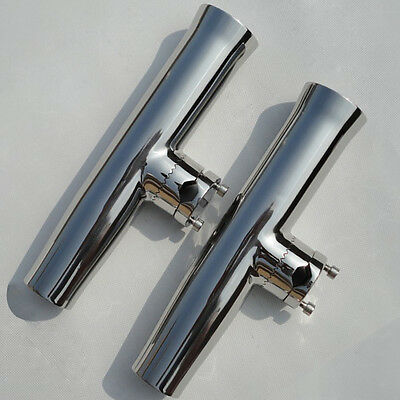 2 PCS Boat Fishing Rod Holder Clamp On 7/8'' To 1'' Tournament Stainless Steel