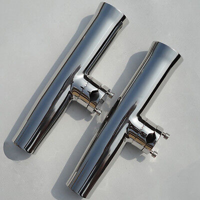 2PCS Stainless Steel Clamp Fishing Rod Holder Tournament Style 7/8''to 1''