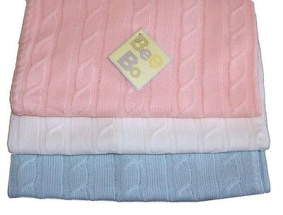 Beautiful Cable Knit Baby Blanket Shawl Sky Pink or White by Bee Bo 100 x 100 cm