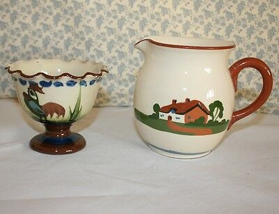 2 Pieces of Vintage Torquay Motto Ware (Longpark Footed Bowl) (Dartmouth Jug)
