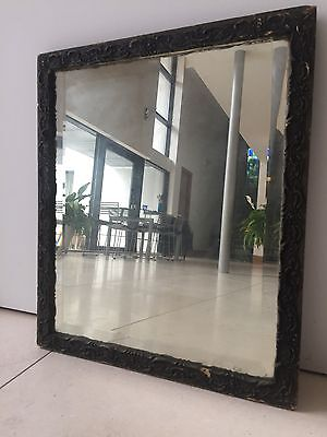 Antique Vintage Edwardian Mirror Bevelled Edge Wooden French Frame Carved Wood
