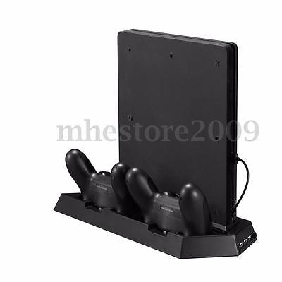 Vertical Stand Cooling Fan USB Charger Multi functional For PlayStation 4 Slim