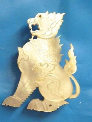 Antique Carved Mother Of Pearl Dragon Foo Dog Lion Pin Brooch