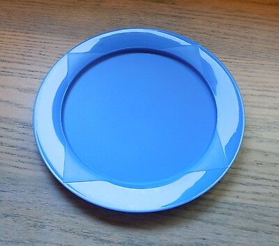 "Tupperware CLEAR IMPRESSIONS Round 9.75"" PICNIC PLATES Set of 4 BLUE"