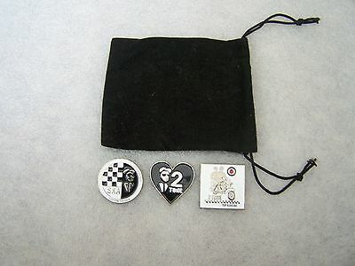 3 Ska 2 Tone Pin Badges in Gift Pouch