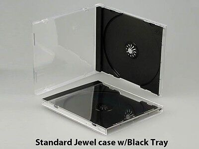 20 New Standard 10.4mm Single Black Tray CD DVD Jewel Cases, hold 1 Disc, CDSB
