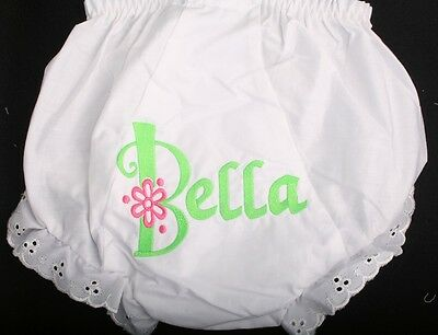 Monogrammed Diaper Covers Panties Bloomers Personalized Flower and Dot