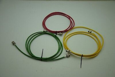 3 cables 10ft each , RG58 with BNC, lot of 3 (1 each of red, green yellow)