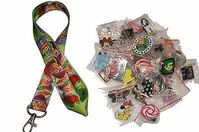 Disney World Pin Trading Lot Lanyard Starter Set Green Toy Story w/ 25 Pins