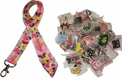 Disney World Pin Trading Lot Lanyard Starter Minnie w/ Pink Party Hat & 25 Pins