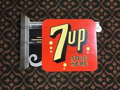 """7 Up 7Up Sold Here 2 Sided 16"""" Metal Flange Sign. Nice Condition. Stout."""