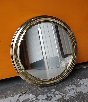 Round Brass Porthole Style Wall Mirror (Not Convex)
