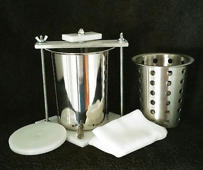 "CHEESE PRESS STAINLESS STEEL 4""  SPRING ASSISTED W FREE Soft Cheese Mold"