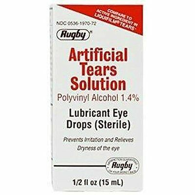 2 Pk Artificial Tears by Rugby Lubricant Eye Drops 15 ml Humans Dogs Cats Horses