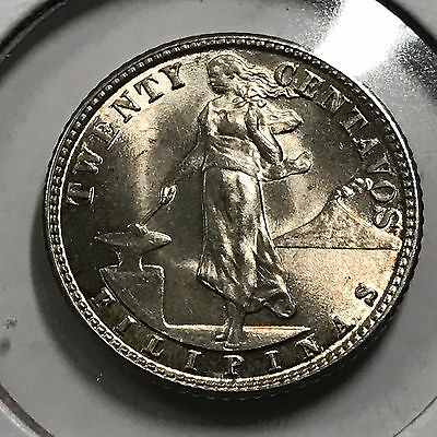 1945-D Philippines Silver 20 Centavos  Uncirculated Beauty