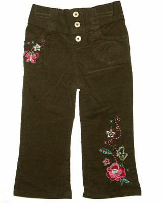 Baby Corduroy Pants Girls Brown Embroidered Infant Size 12 18 24 Months Soft