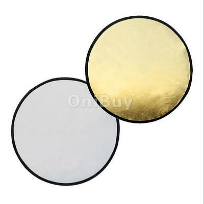 """43 """"(110cm) Round Collapsible Reflector Photographie Diffuseur Or / Argent"""