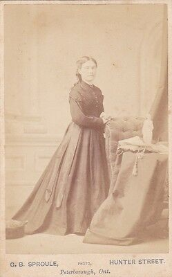 1870s CDV Young Woman Standing Portrait Photo G. B. Sproule Peterborough Ont.