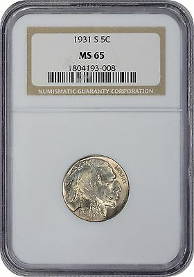 1931-S Buffalo Nickel MS65 NGC Mint State 65