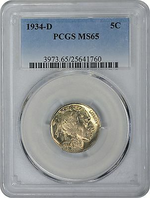1934-D Buffalo Nickel MS65 PCGS Mint State 65