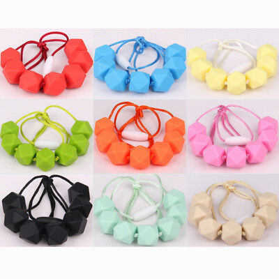 1x Baby Silicone Teeth Chain Teether BPA-Free Polygon Bead Charm Necklace Gifts