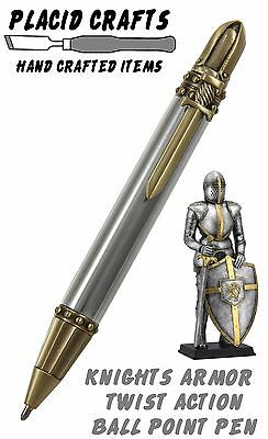 Knights Armor Ballpoint with Raw Aluminum Body & Antique Brass Hardware / #100