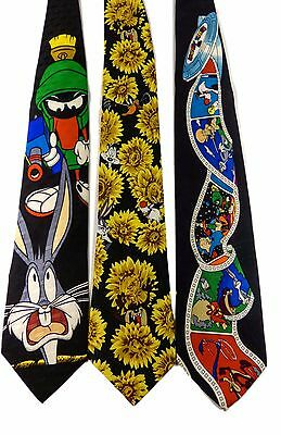 Lot of 3 Looney Tunes Ties Film Reel Marvin Bugs Bunny Taz Daffy